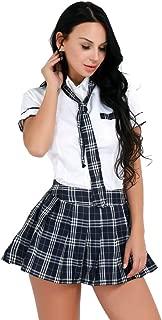 iiniim Women's School Uniform Cosplay Costumes Short Sleeve Shirt with Plaid Skirt Tie
