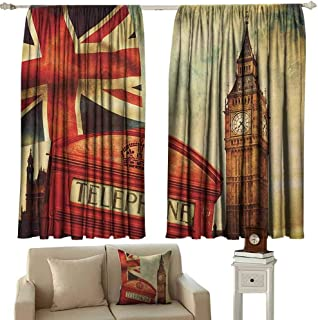 GUUVOR London Blackout Curtain Vintage Style Symbols of London with National Flag UK Great Britain Old Clock Tower 2 Panel Sets W52 x L45 Inch Multicolor