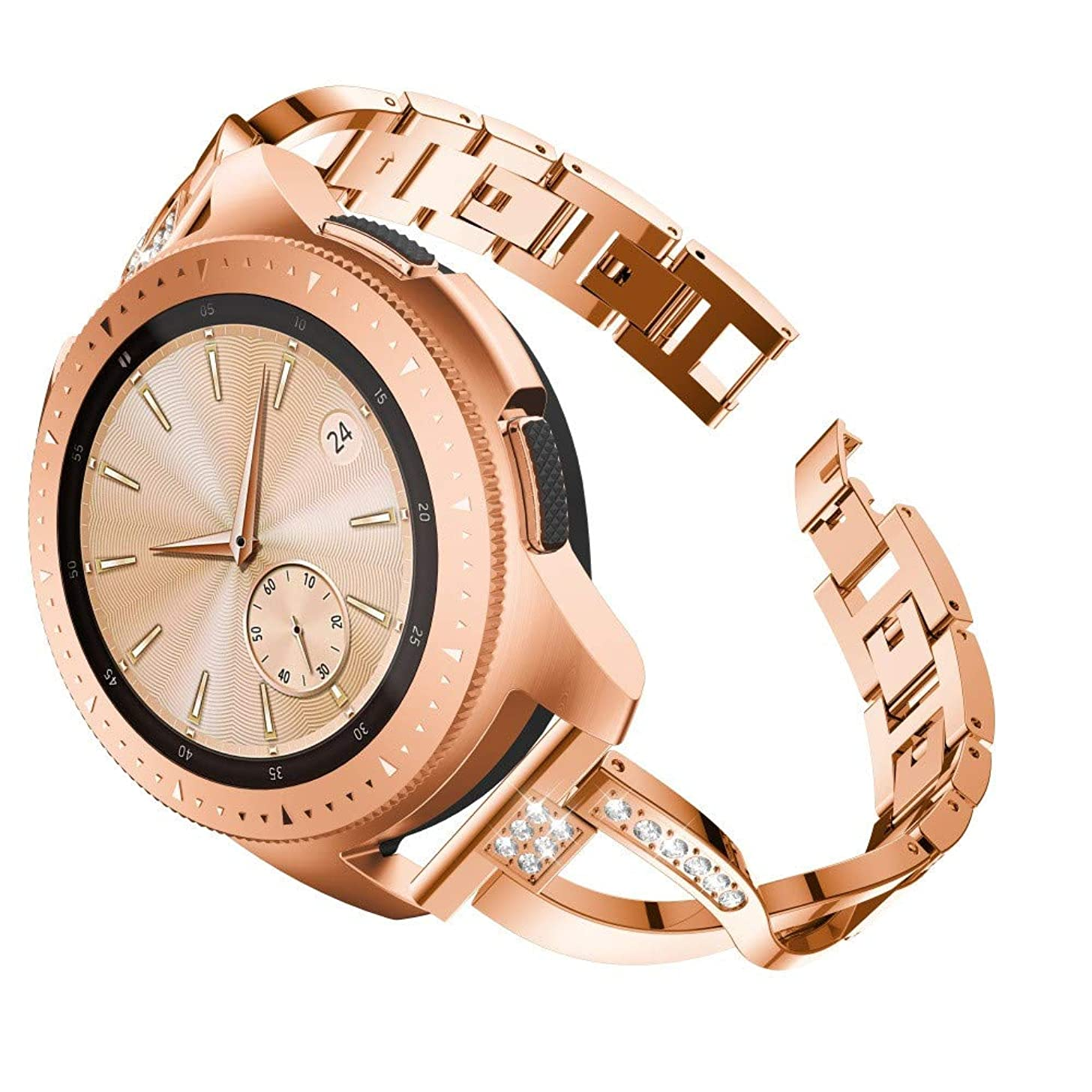 Fine Compatible Luxury Metal Crystal Samsung Galaxy Watch Replacement Bracelet Band Women Watch Band Metal Bling Bands Rhinestone