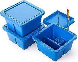 Yesland 3 Pack Artist Brush Basin, 12 Hole Blue Multi-Function Plastic Brush Washer with Lid and Brush Holder, 6.3 × 6.3 ×...