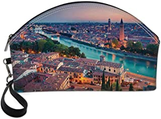 European Beautiful Women's semi circular cosmetic bag,Verona Italy During Summer Sunset Blue Hour Adige River Medieval Historcal For traveling,10.8