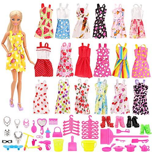 Miunana 120 Kleidung Zubehör für Puppen= 15 Kleidung Kleider + 105 Zubehör Schmuck Kleidersbügel Schuhe Kette Ständer für 11,5 Zoll Mädchen Puppen