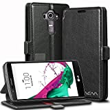 LG G4 Wallet Case - VENA [vFolio | Genuine Leather] Slim Vintage Flip Wallet Stand Case with Card Slots for LG G4 2015 (Not Compatible with Leather LG G4) (Black/Red)