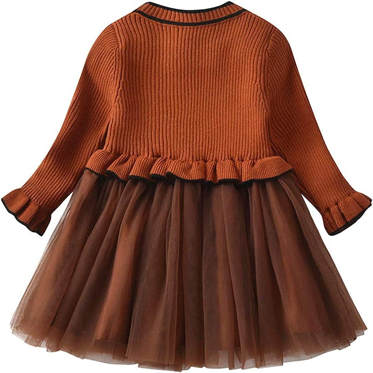 MoccyBabeLee B/éb/é Fille Tricot Pull Robe /à Manches Longues tricot/é Tulle Tutu Robes Hiver b/éb/é Tenue d/écontract/ée v/êtements