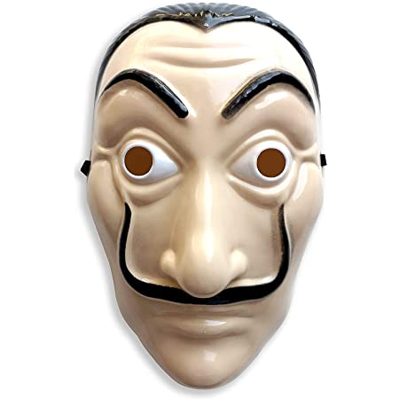 INTVN Masque CASA de Papel, 3 Pièces Masque Dali Salvador Dali Réaliste Visage Mask Plastique Masque La CASA de Papel