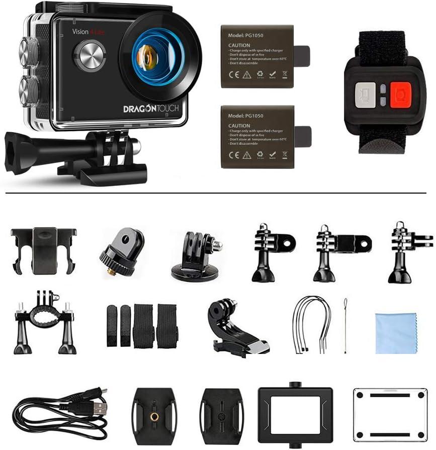 Dragon Touch Action Cam 4K 20MP WiFi Subacquea Ultra HD Fotocamera, Schermo da 2 Pollici 170° Grandangolare, 1050mAh Batterie Custodia 30M Impermeabile con Telecomando e 20 Kit di Accessori