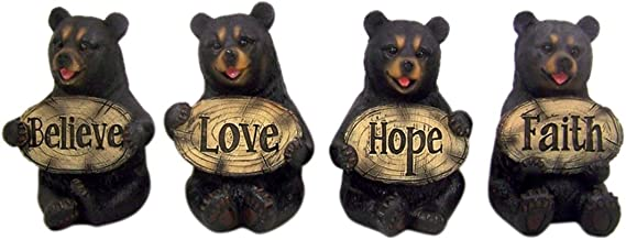 Home Originality Set of 4 Bears of Grace Figurines Holding Inspirational Plaques, 3 1/4 Inch