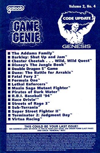 Game Genie Codebook Update for Sega Genesis - Volume 2 Number 4 (Supplement code update booklet with additonal codes not in original manual) (Game Genie Code Update) [Paperback] [1994] Galoob