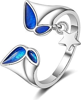 Ganghuo Bague ouverte en argent réglable pour femme - Cadeau de mariage ou de fiançailles - Étoiles et papillons