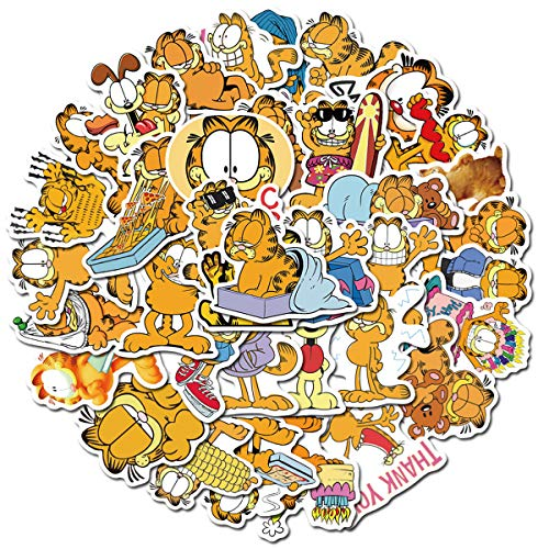 Garfield Cat The Movie Stickers for Water Bottles 50 Pack Cute,Waterproof,Aesthetic,Trendy Stickers for Teens,Girls Boys Perfect for Waterbottle,Laptop,Phone,Travel Extra Durable Vinyl