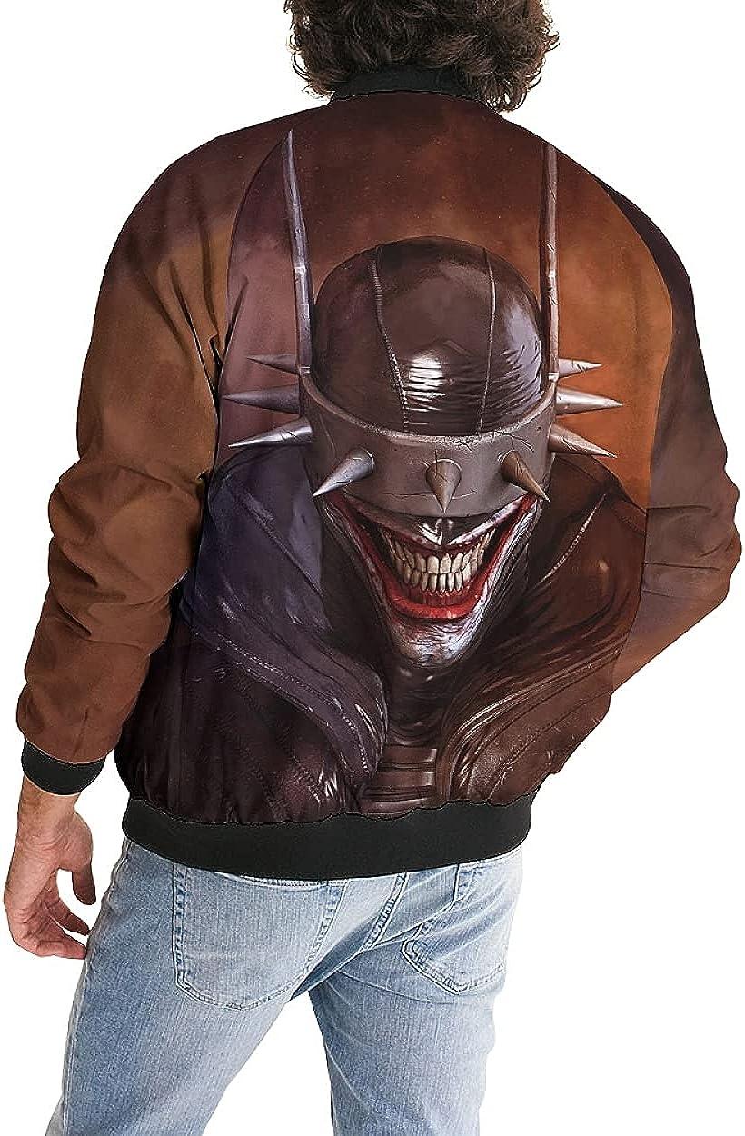 Clown Mens Lightweight Bomber Jackets Sportswear Casual Windbreaker Zip Front Polar Fleece Coats Funny Fashion Hooded