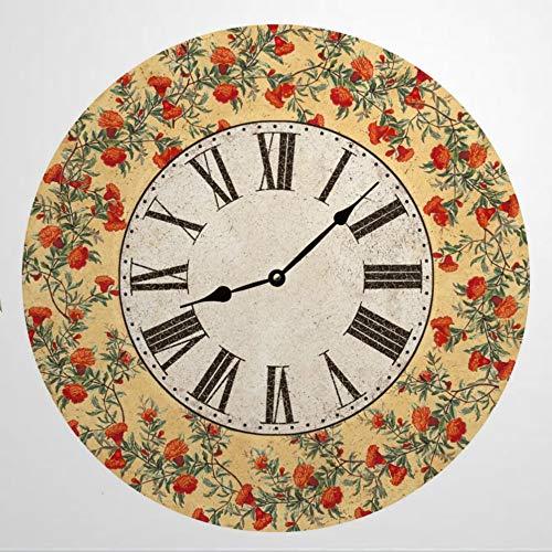 Reloj de pared redondo de madera amarilla floral, reloj de madera rústica para decoración del hogar, cocina, dormitorio, baño, oficina, sala de estar, comedor.