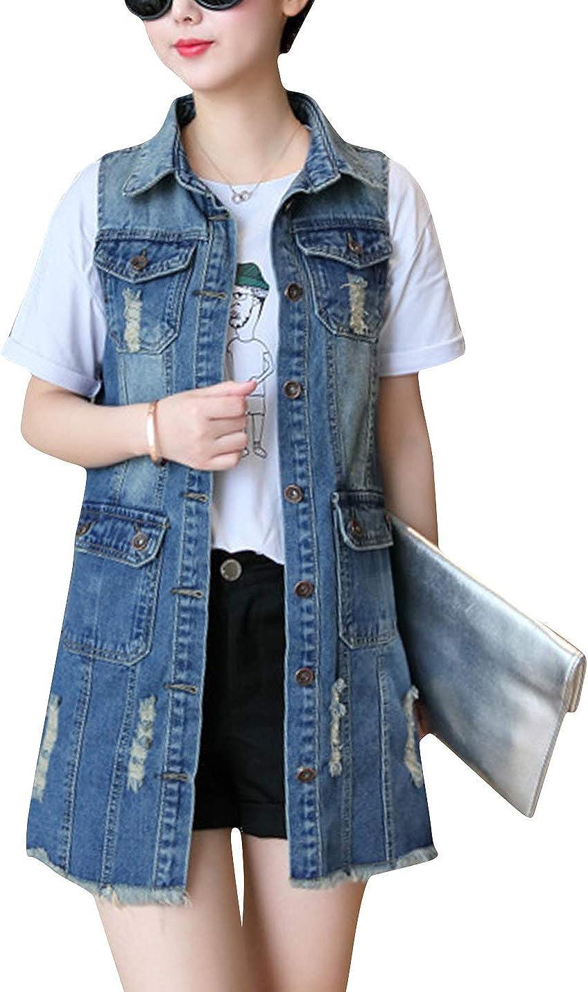 ZGZZ7 Women's Vintage Broken Denim Vests Buttons Sleeveless Mid-Long Jean Jackets Gilet Waistcoats