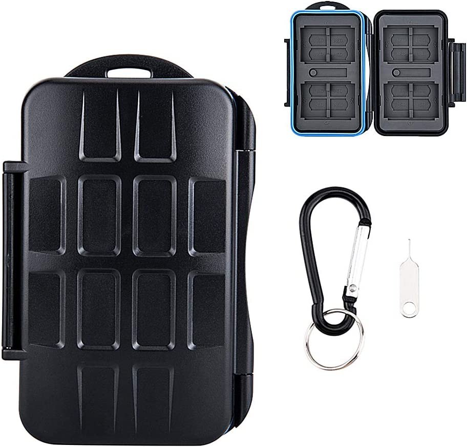 28 Slots Water-Resistant Memory Card Case SD MSD Card Holder Storage Keeper for 4 CF + 8 SD SDHC SDXC + 16 TF MSD Micro SD Cards, with Carabiner + Card Tray Removal Eject Pin Key / Blue Seal Ring