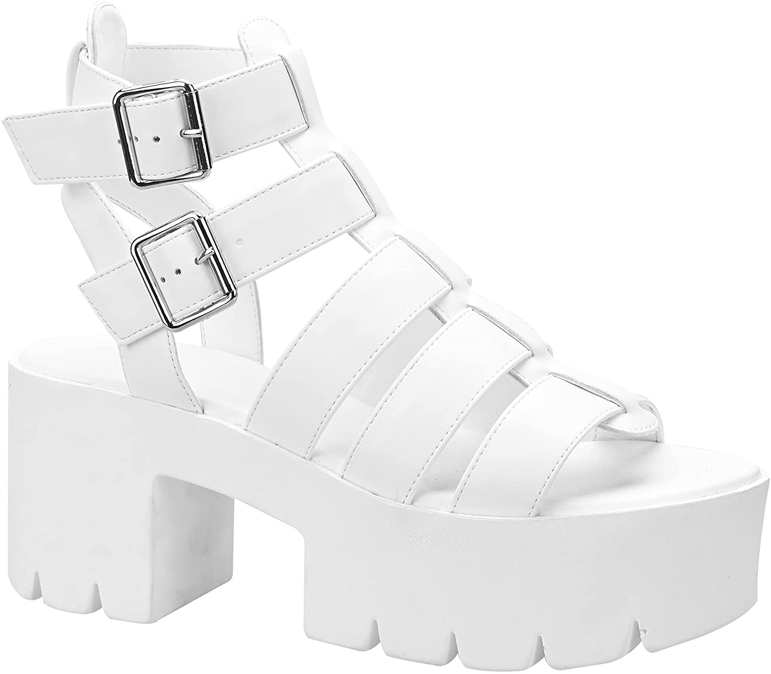 READYSALTED Faux Leather Limited time for free shipping Multi Ranking TOP1 Buckle Ankle Strap Gladi Flatform
