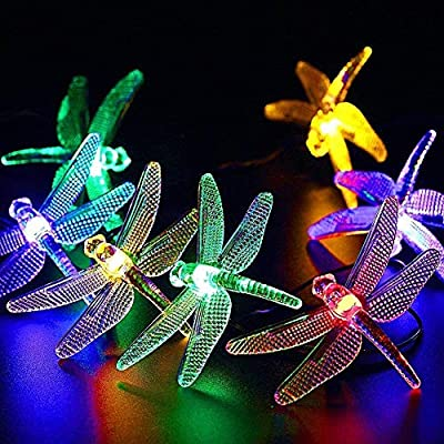 Shirt Luv Outdoor Dragonfly Solar String Lights, 20LED 16ft Waterproof Fairy Lighting for Christmas Trees, Garden, Patio, Fence, Wedding, Party and Holiday Decorations, Multi Color