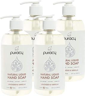 Puracy Natural Liquid Hand Soap, Moisturizing Gel Hand Wash, Lavender & Vanilla, 12 Ounce (4-Pack)