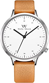 Welly Merck Mens Watches Leather Quartz Analog Swiss Movement 42MM Thin Stainless Steel Mans with Italian Leather Band 5ATM Waterproof