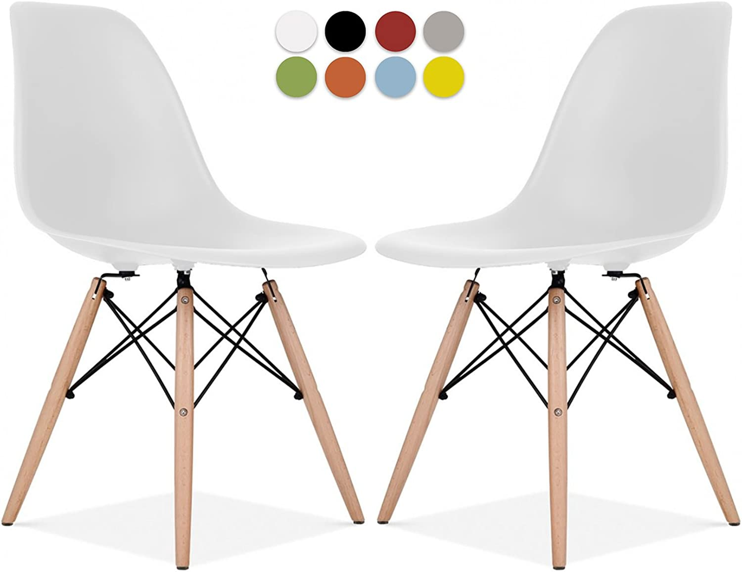 Eames Style Chair by La Valley - Set of 2 - Mid Century Modern Eames Molded Shell Chair with Dowel Wood Eiffel Legs - for Dining Room, Kitchen, Bedroom, Lounge - Easy-Assemble & Clean - White