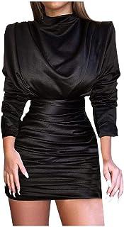 Spring Women '' s Fashion Plissettato Tinta Unita O-Collo Vestito Aderente a Maniche Lunghe Sexy Moda Vestido estetico ed ...