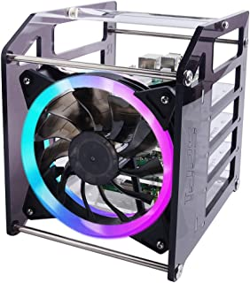 GeeekPi Raspberry Pi Cluster Caja, Raspberry Pi Rack Case Caja apilable con Ventilador 120mm RGB LED 5V Fan para Raspberry...
