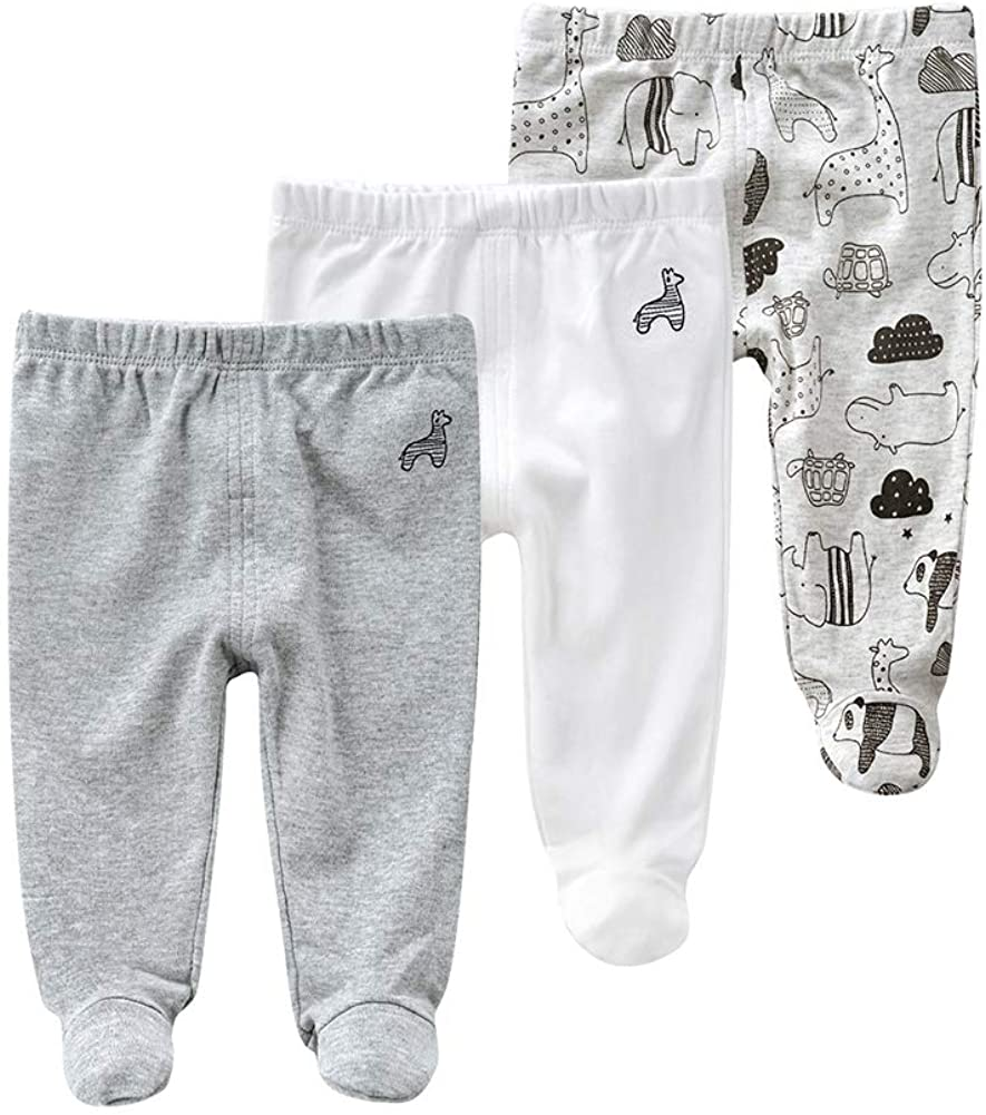 Teach Max 62% OFF Leanbh Los Angeles Mall Newborn Baby 3 Footed Embroidery Pants Cotton Pack