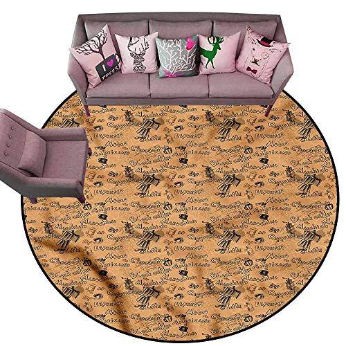 Anti Slip House Kitchen Door Area Rug Coffee,Grinder with Coffee Cups Diameter 48' Round Best Floor mats