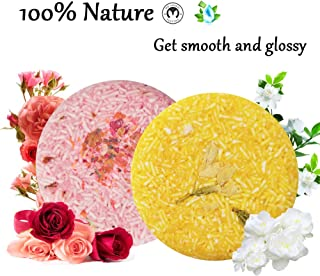 100% Natural Shampoo Bar for Hair 2 Pieces Solid Shampoo Soap for Treated Dry Damaged Hair Vegetarian Plant Essence Helps ...