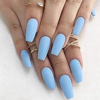 Mayelia Punk Mate Presione sobre las uñas Azul Ataúd Uñas Falsas 24 piezas Largo Uñas postizas Largo para mujeres y niñas