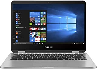 Asus VivoBook Flip 14 TP401MA-EC123TS Convertible Notebook (Light Gray) - Intel Celeron N4000 2.6 GHz, 4 GB RAM, 64GB eMMC, Integrated Intel UHD Graphics 620, 14 inches LED , Windows 10S, Eng-Arb-KB