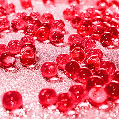 Hicarer 10000 Pieces Vase Filler Beads Gems Water Gel Beads Growing Crystal Pearls Wedding Centerpiece Decoration (Red)