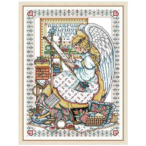 Angel Embroider Malerei gezählt 11ct 14ct DIY Kit Kreuzstich Stickerei Handtuch Sets Home Decor Kreuzstich-Malerei (Cross Stitch Fabric CT number : 14ct print canvas)