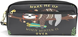 ALAZA Wake Me Up Sloth Pencil Case Zipper PU Leather Pen Bag Cosmetic Makeup Bag Pen Stationery Pouch Bag Large Capacity