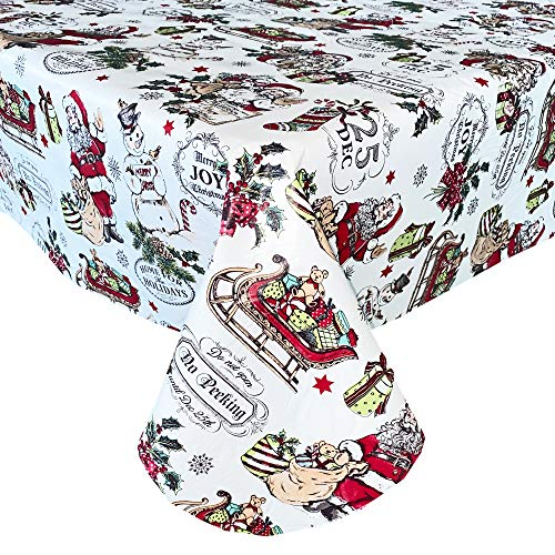 """Newbridge Vintage Nostalgia Home for Holidays Print Flannel Back Vinyl Christmas Tablecloth - Vintage Santa Claus, Snowman and Sleigh Wipe Clean Easy Care Tablecloth, 52"""" x 70"""" Oblong/Rectangle"""