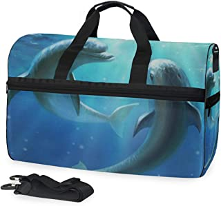 Travel Gym Bag Blue Ocean Dolphin Love Yoga Overnight Bag With Shoes Compartment Foldable Duffle Bag For Men Women