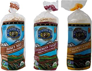 Lundberg Gluten-Free Non-GMO Rice Cakes 3 Flavor Variety Bundle, (1) Each: Caramel Corn, Honey Nut, and Cinnamon Toast, 9.4-9.6 Ounces (3 Total)