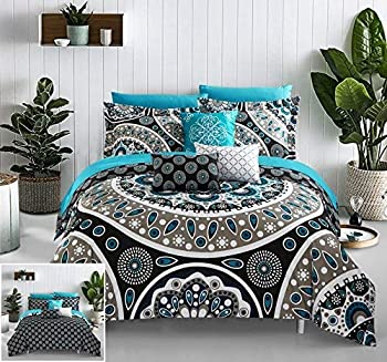 Chic Home Mornington Large Scale Contempo Bohemian Reversible Printed with Embroidered Details Queen Bed in a Bag Comforter Set Black