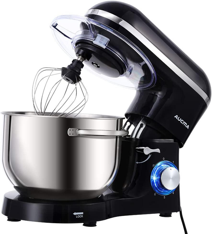 Aucma Stand Mixer with Dough Hook, Wire Whip & Beater in Black Color