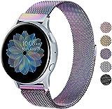 Wanme Correa Compatible con Samsung Galaxy Watch Active/Active 2 40mm 44mm, 20mm Metal Pulsera de Repuesto de Acero Inoxidable para Galaxy Watch 3 41mm / Gear S2 Classic/Gear Sport (Vistoso)