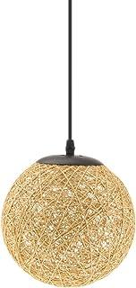 Lámpara de Techo Forma de Bola de Tela Tejida de Mimbre Luz Colgante Interior 20CM Decoración de Cafetería de Restaurante de Hogar - De Lino
