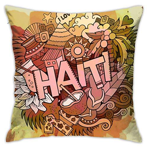 Cy-ril Haití Acuarela ilustración Cuadrado Decorativo Cojines Fundas de Cojines Estampado geométrico Fundas de Almohada para el hogar 40X40 Cm