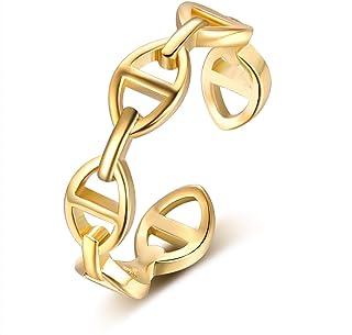 YBMYCM 18K الذهب مطلي سلسلة ربط خواتم بسيطة تراص إتيرنية ملتوية عقدة الفرقة خواتم للنساء الفتيات