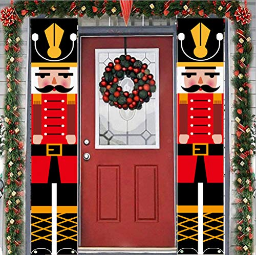 Nutcracker Christmas Banner Outdoor Xmas Decoration, Life Size Nutcracker Soldier Porch Signs, Hanging Christmas Banners for Front Door Yard Home Garden Office Garage Apartment Holiday Party Supplies