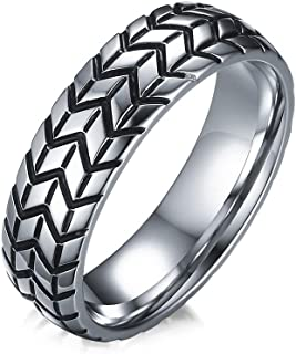 Mens Tire Tread Band Grooved Stainless Steel Ring,Size 7-12