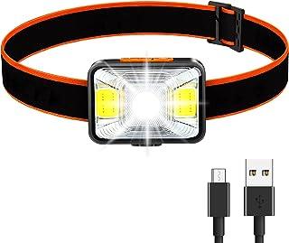 Linterna Frontal LED, 1800 Lux Lámpara de Cabeza Recargable Súper Brillante con 5 Modos de Luz Frontal USB IPX5 Ligero Imp...