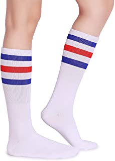 Pareberry Classic Triple Stripes Soft Cotton On the Calf Retro White Tube Socks