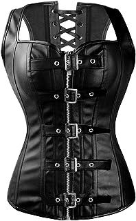 SLTY Fashion Corset Top Overbust Steampunk Bustier Lace Up Women's Buckle&Zipper Faux Leather Waist Cincher Corset