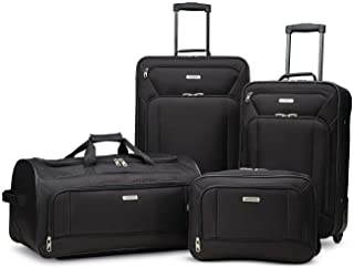 Fieldbrook XLT Softside Upright Luggage, Black, 4-Piece...