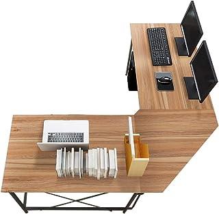 sogesfurniture Escritorio de Computadora en Forma de L, 150cm + 150cm Mesa de Ordenador Mesa de Estudio Estación de Trabaj...