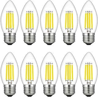 MENTA Bombillas Vela de Filamento Flame LED E27 4W equivalente a 40W, Blanco Frío 6500K, 400LM, C35 Pequeña Edison Screw (SES) Bombillas de Vela, Retro Vintage, No regulable, Vidrio, 10 Unidades